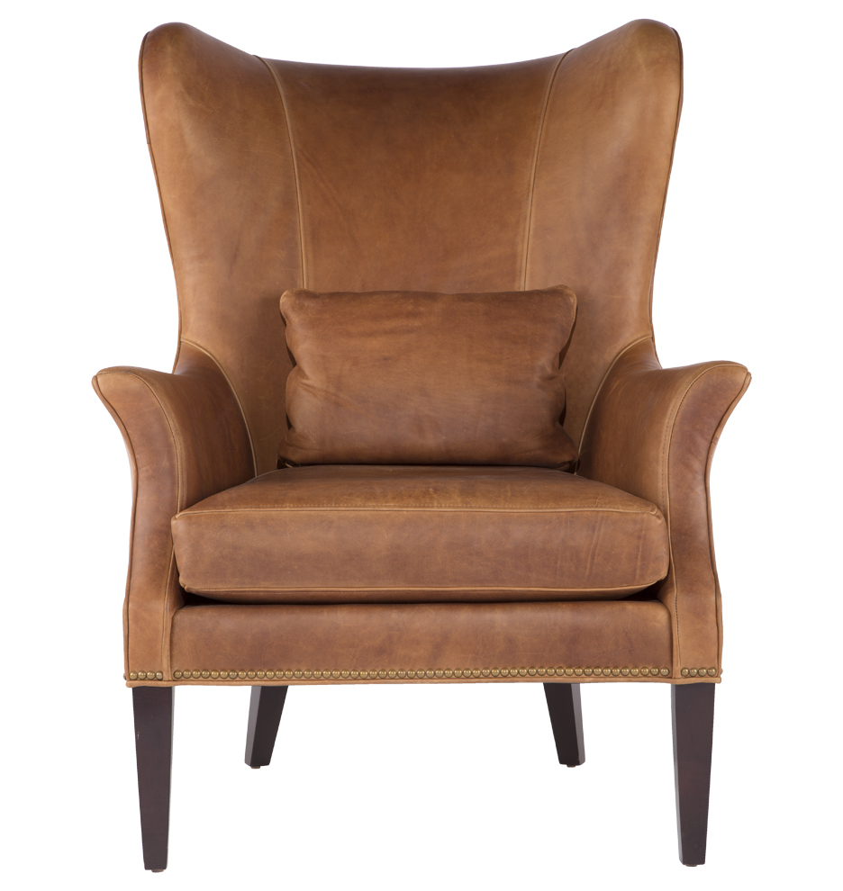 Clinton modern wingback chair rejuvenation for Modern leather chair