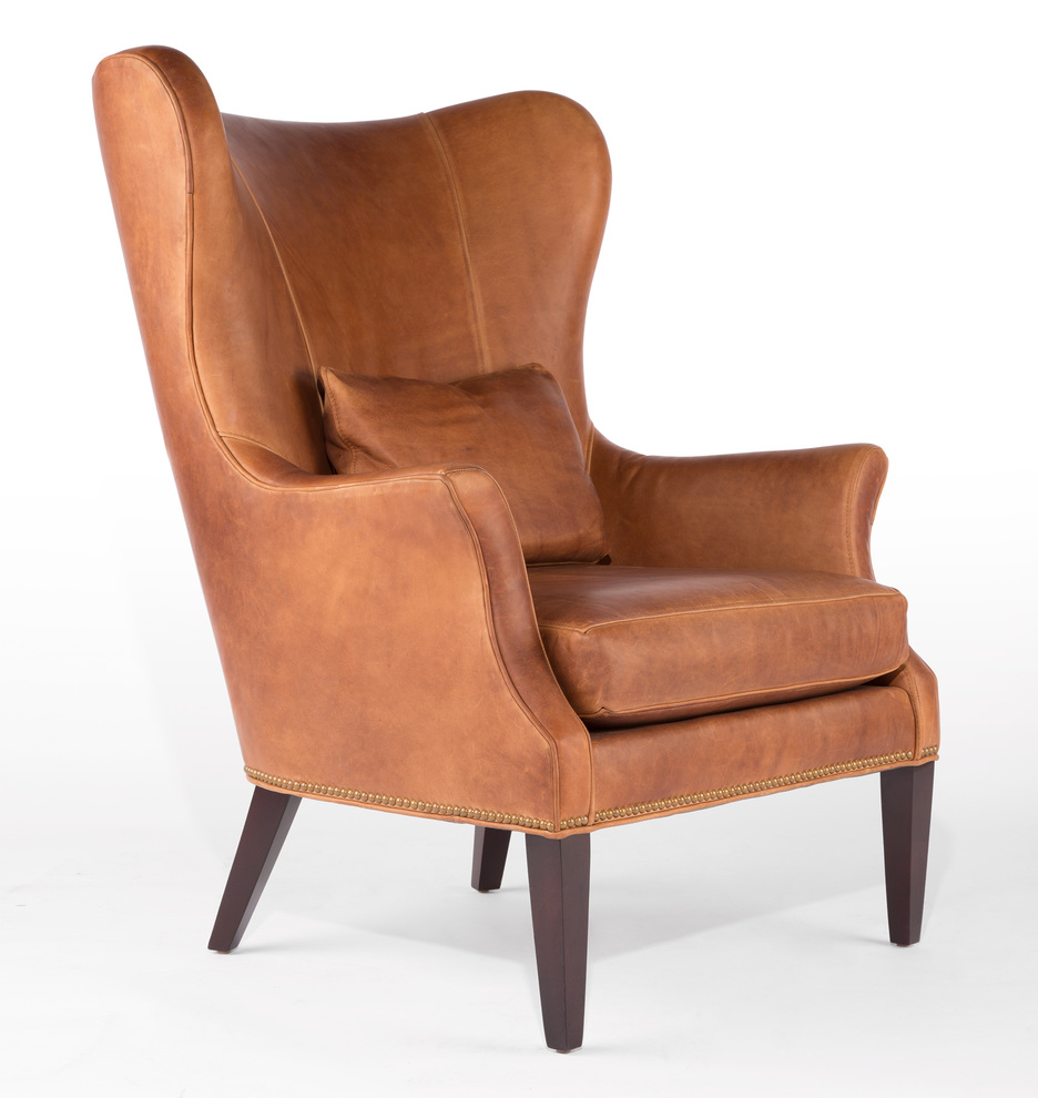 clinton modern wingback italian leather chair with nailheads