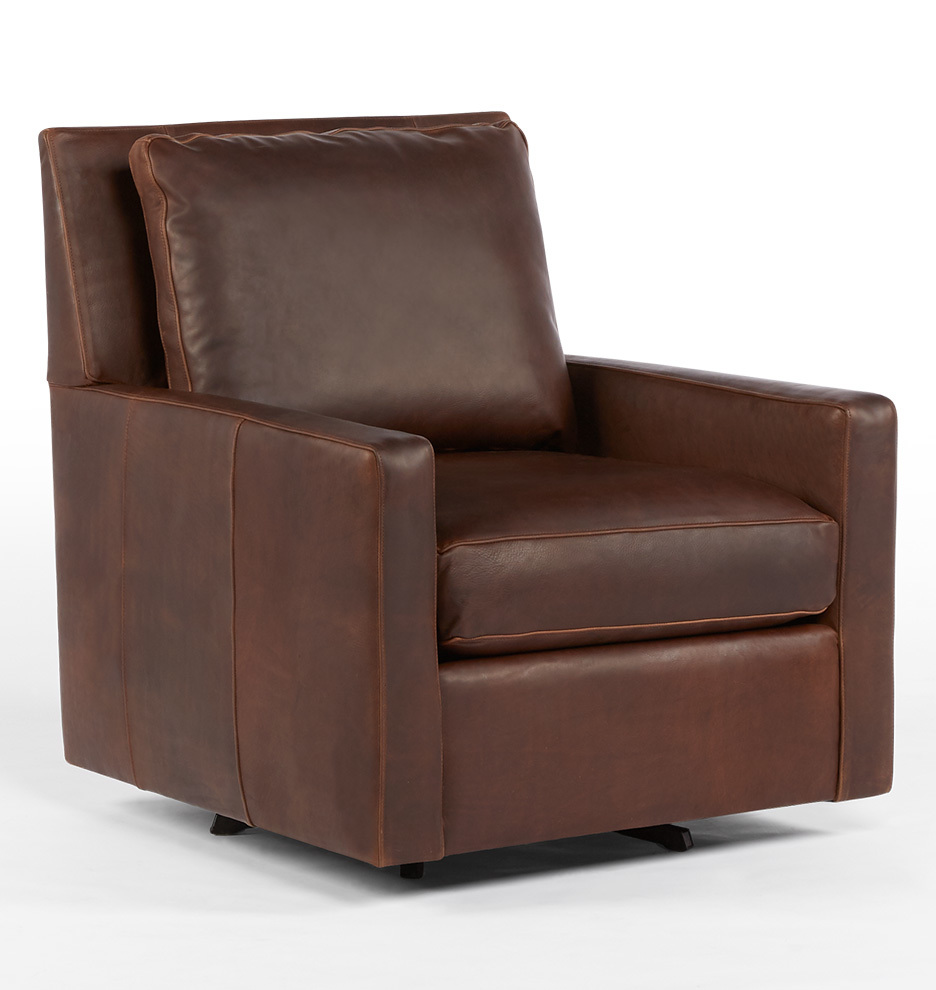 Vintage leather swivel chair - Bates Leather Swivel Chair Leather Pure Molasses Stocked Rejuvenation