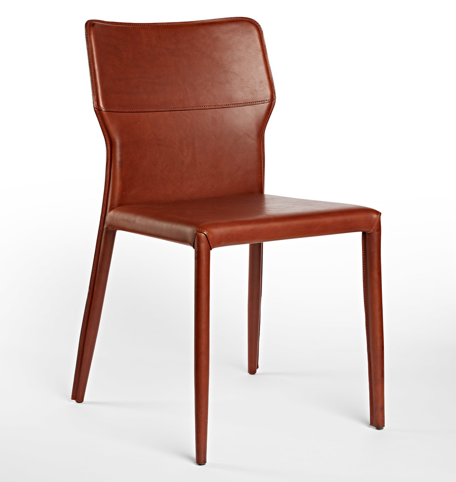 Industrial leather dining chair - Kendrick Italian Leather Chair
