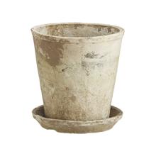 Large Antiqued-White Rose Pot