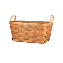 Ash Wood & Leather Nesting Basket - Medium