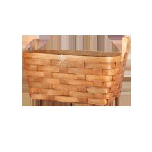 Cherry Wood & Leather Nesting Basket - Medium