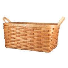 Cherry Wood & Leather Nesting Basket - Large