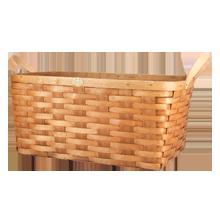 Cherry Wood & Leather Nesting Basket - Large