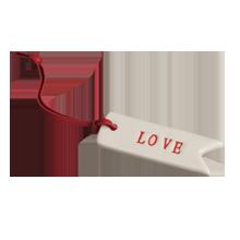 "Ceramic ""Love"" Tag Ornament"