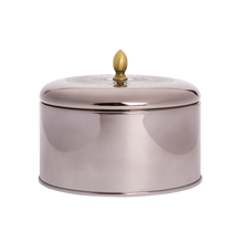 Metallic-Knob Tin Woodfire Candle