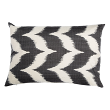 Reyhan Black Chevron Down-Filled Silk Pillow - 22 in. x 14 in.