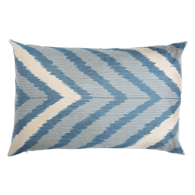 Blue Chevron Down-Filled Silk Pillow - 22 in. x 14 in.