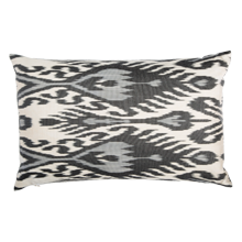 Black and Gray Ikat Down-Filled Silk Pillow - 22 in. x 14 in.