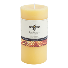 """3"""" x 6"""" Beeswax Pillar Candle - Natural"""