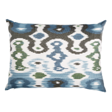 Didem Blue and Black Ikat Down-Filled Silk Pillow - 22 in x 14 in