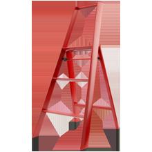 Lucano 3-Step Stepladder - Red