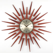 Wood and Brass Starburst Clock