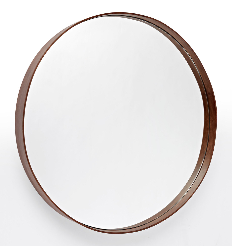Round walnut mirror rejuvenation for Circle mirror