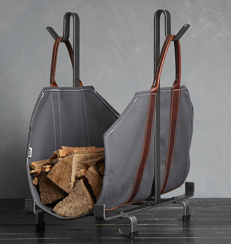 Canvas Amp Leather Log Carrier Gray Rejuvenation