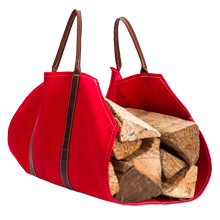 Canvas & Leather Log Carrier - Red