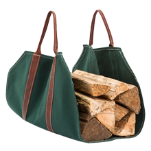 Canvas & Leather Log Carrier - Green