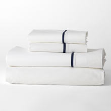 Border Percale Sheet Set - Navy