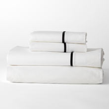 Border Percale Sheet Set - Black