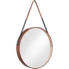 Round Leather Mirror