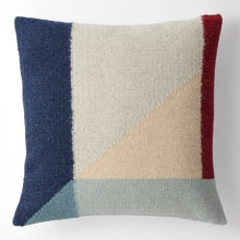 Woven Colorblock Wool Kilim Pillow