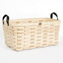 Ash Wood & Leather Nesting Basket - Large