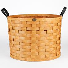 Oversized Ash Wood & Leather Round Basket