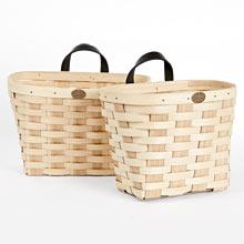 Ash Wood & Leather Wall Storage Basket - Set of 2