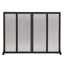 Satin Black Fireplace Screen With Doors