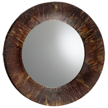 Round Cherry Bark Mirror