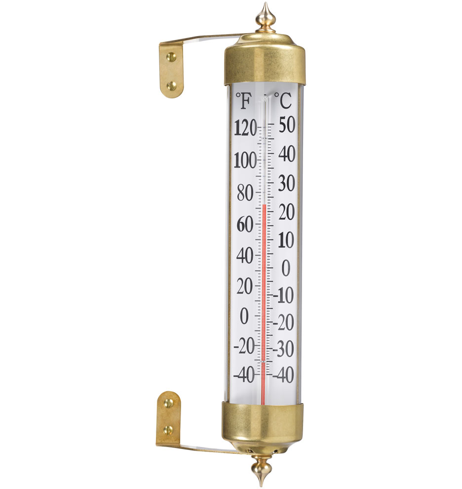 antique brass outdoor thermometer  rejuvenation - z