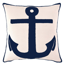 Indoor/Outdoor Anchor Pillow - Navy