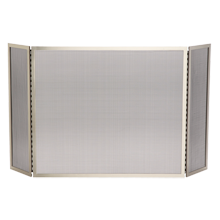 Tri-Fold Fireplace Screen - Brushed Nickel