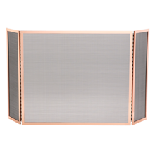Tri-Fold Fireplace Screen - Polished Copper