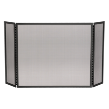 Tri-Fold Fireplace Screen - Satin Black