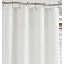 White Waffle-Weave Shower Curtain