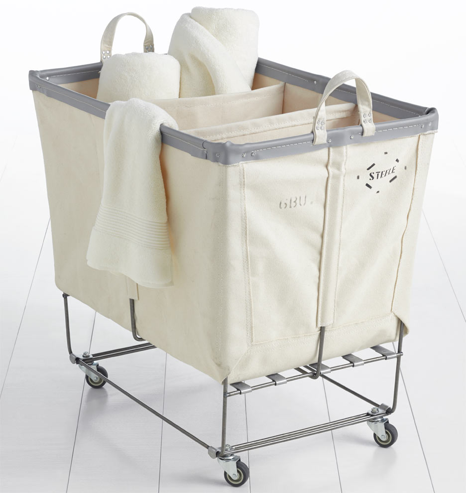 3 Section Steele Canvas Laundry Bin Natural Rejuvenation