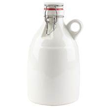 White Ceramic Growler - 64-Ounce