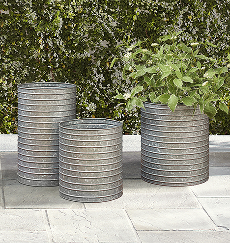 Ribbed Galvanized Metal Planter Rejuvenation