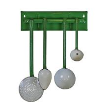 Green and White Enamel Kitchen Utensils W/ Gold Pinstripe C1935