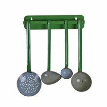 Green and Grey Enamel Kitchen Utensils w/ Pinstripe C1935