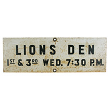 Lions Den Men's Club Sign C1940