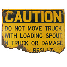 Rusted Construction Site Caution Sign C1960s