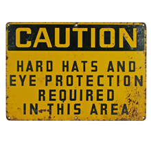 Weathered Construction Site Caution Sign C1960s