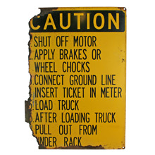 Rusted Truck Stop Caution Sign C1960s