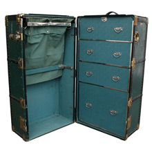 Green Faux Leather Hartmann Wardrobe Trunk C1920s