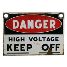 Bold Enamel Danger Sign C1960s