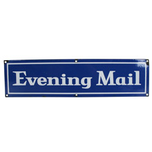 Mid-Century Evening Mail Enamel Sign C1960