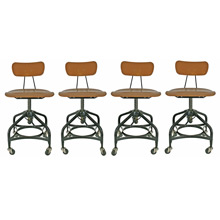 Set of 4 Plastic Saddle Seat Toledo Chairs C1950s